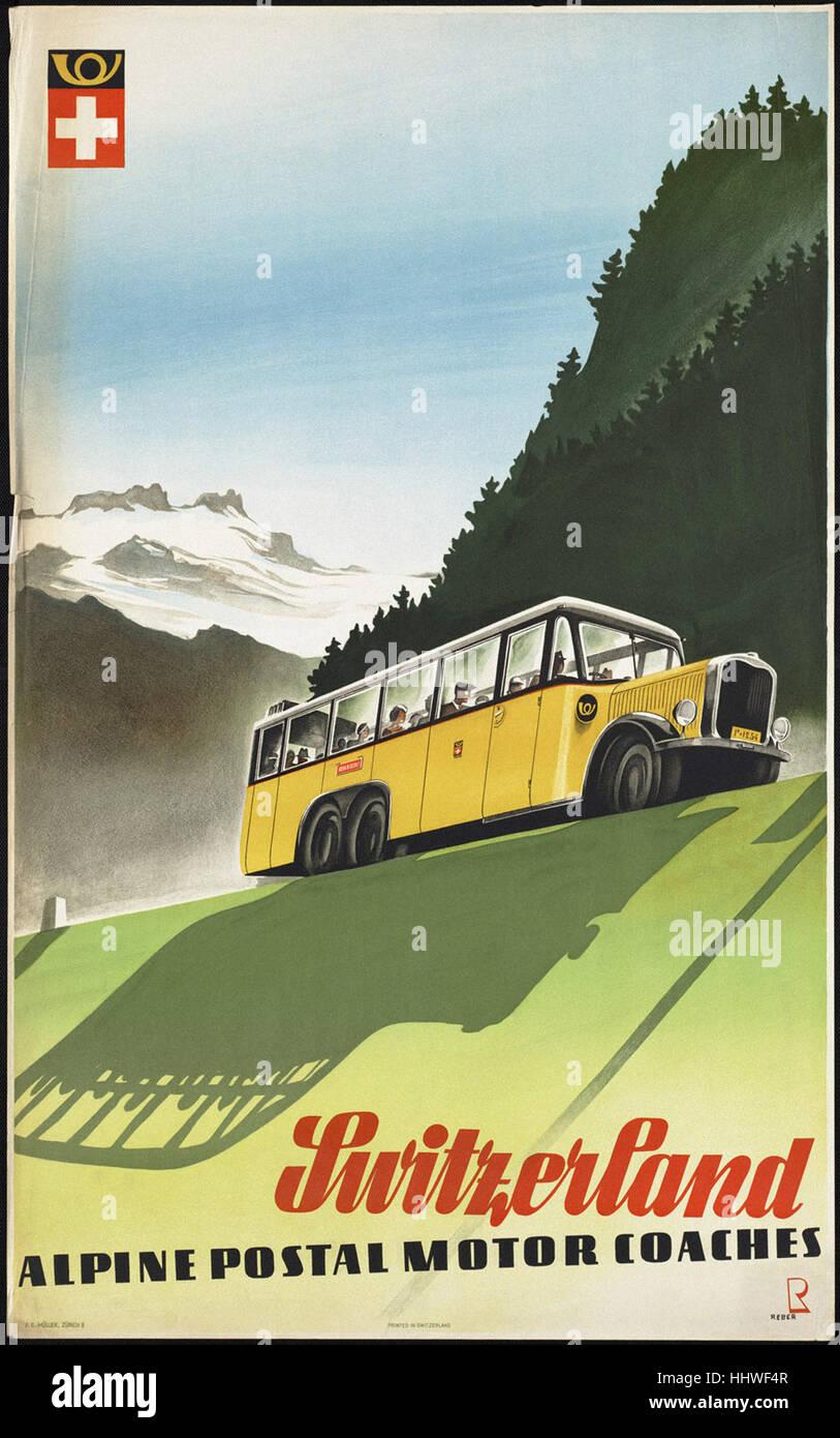 Schweiz. Alpine Post Triebwagen - Oldtimer Reisen Plakat der 1920er Jahre der 1940er-Jahre Stockfoto