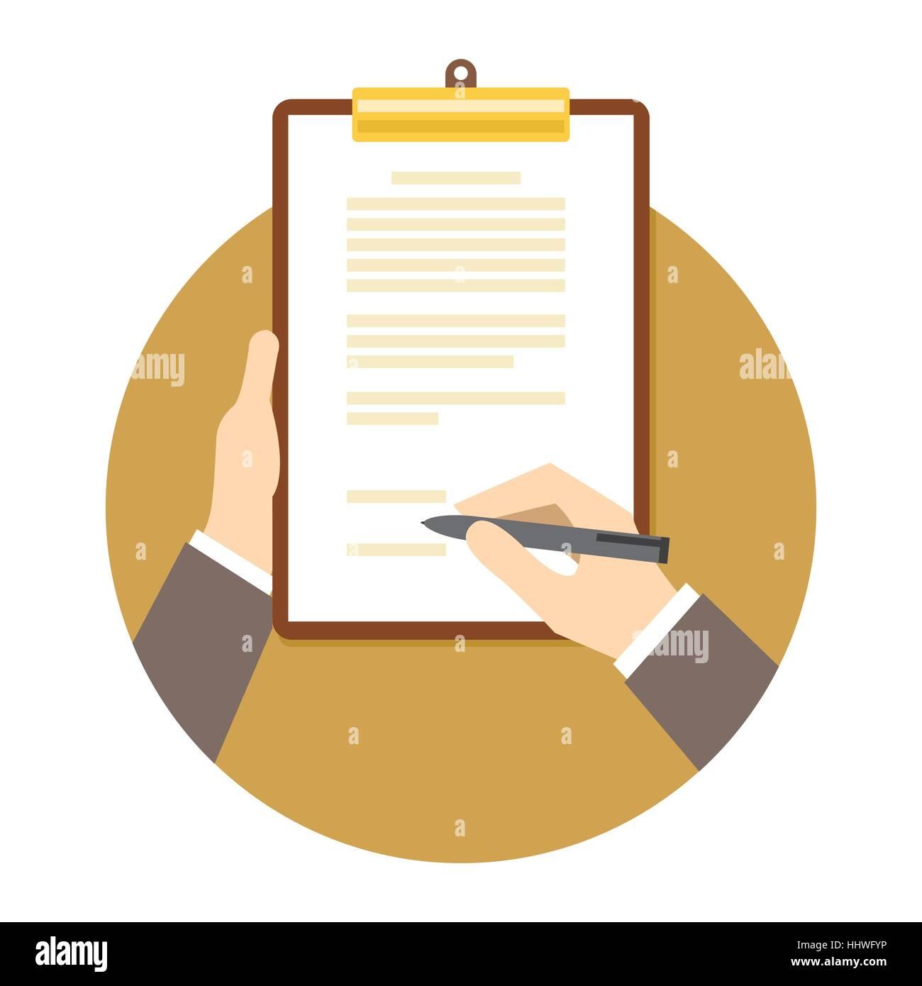 Signing Business Vertrag Vereinbarung Dokument Abbildung Vektor