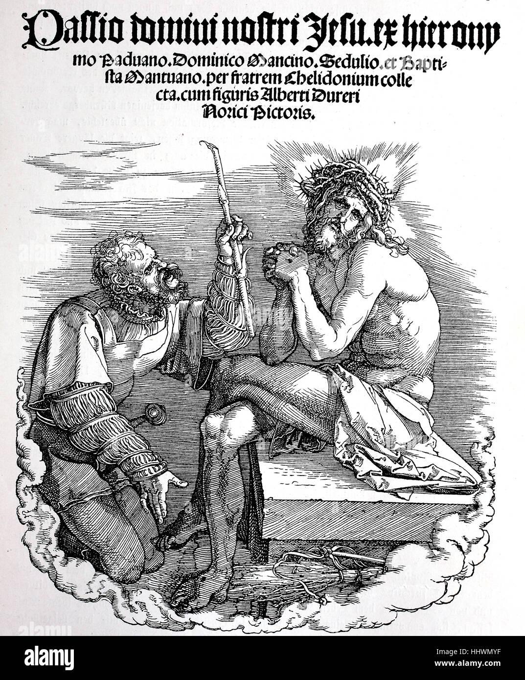 Holzschnitt des Titels, Leidenschaft, von Albrecht Duerer, Deutschland, historisches Bild oder Illustration, veröffentlicht Stockbild