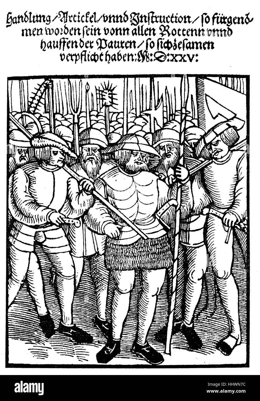 Die Titelseite der einen Flyer, Broschüre von 1525, enthält die zwölf Artikel der Bauern, Bauernhof Stockbild