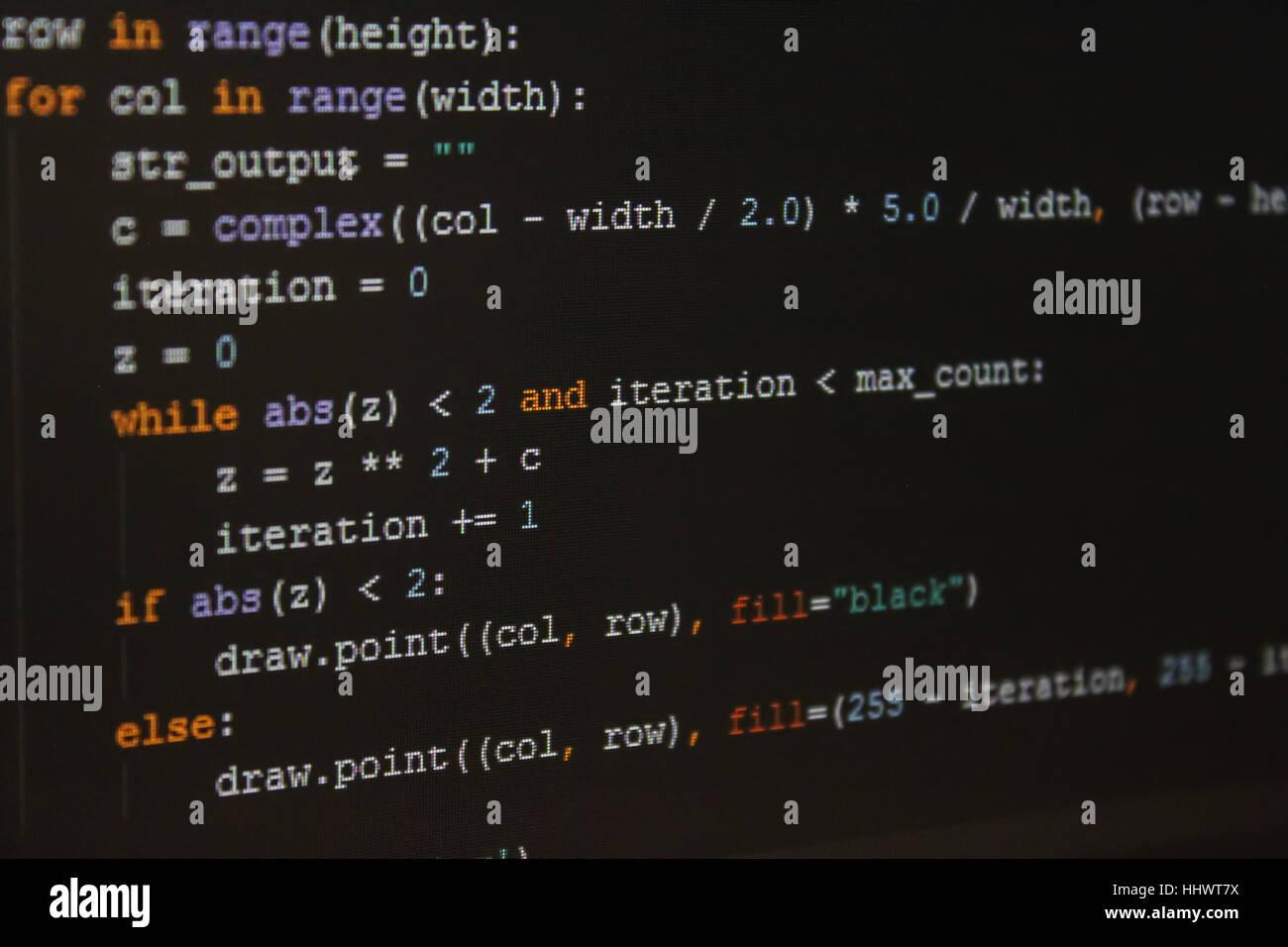 Stück Programmcode in IDE. Stockfoto