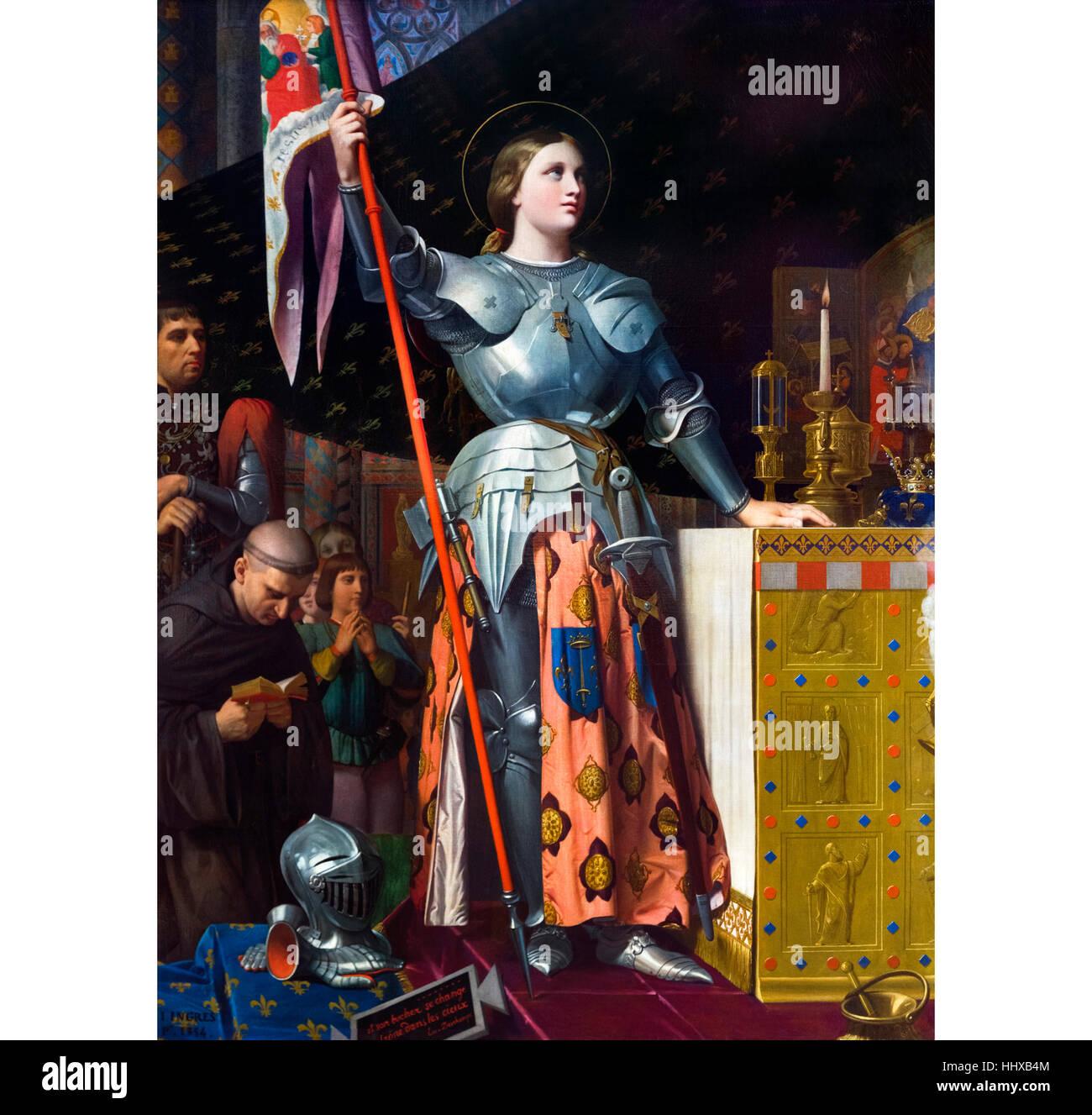 Jeanne d ' Arc bei der Krönung von Karl VII. in Reims. Gemälde von Jean Auguste Dominique Ingres, Stockbild