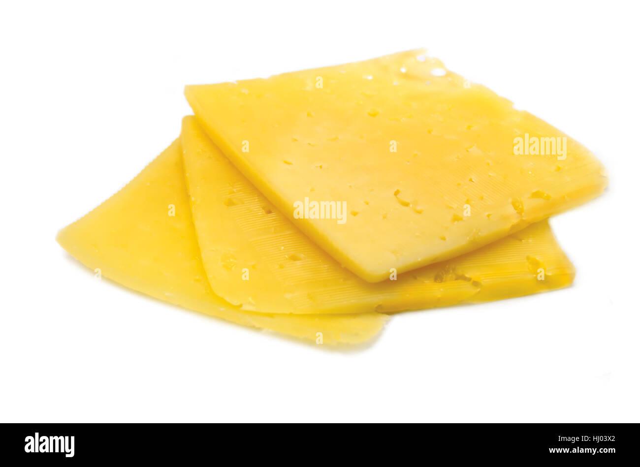 Käsescheiben, isolierte detaillierte Nahaufnahme, Slice-stack Stockbild