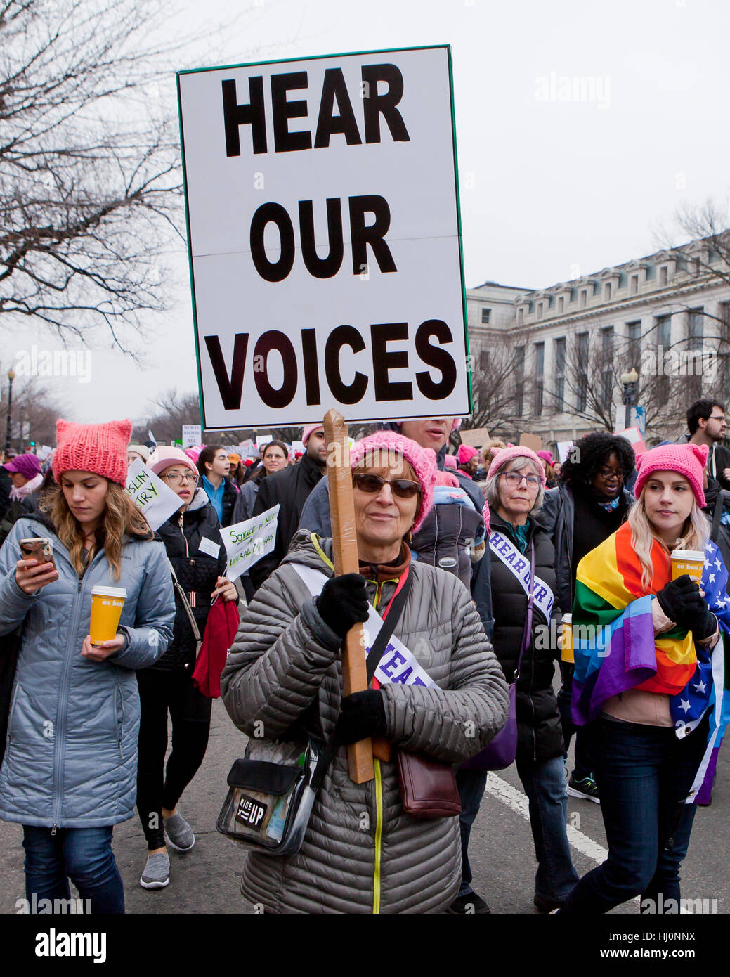 Washington, USA. 21. Januar 2017.  Frauen März zieht Hunderttausende Menschen nach Washington, DC, nur einen Stockbild