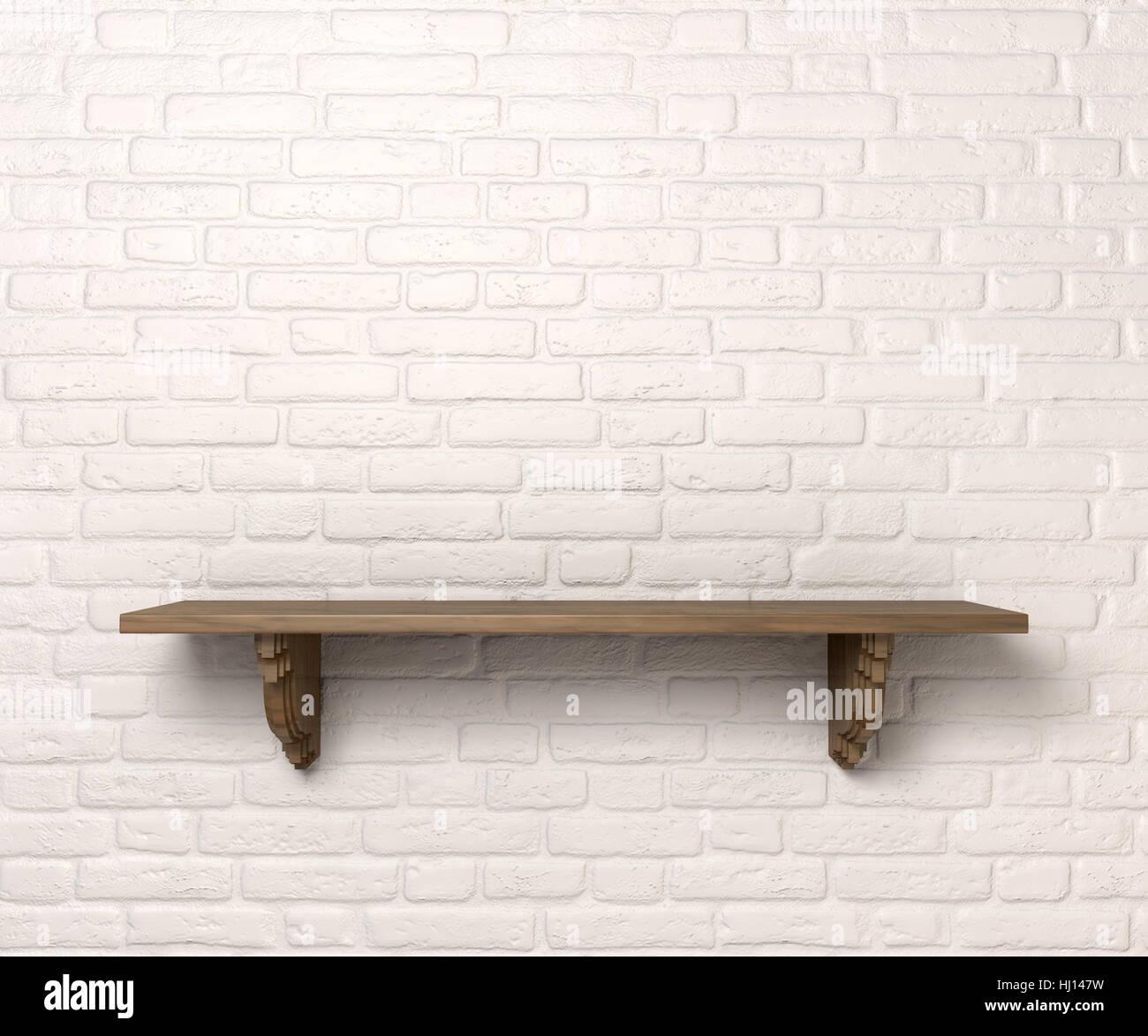 Isoliert Mobel Holz Wand Holz Regal Ledge Halterung Leer
