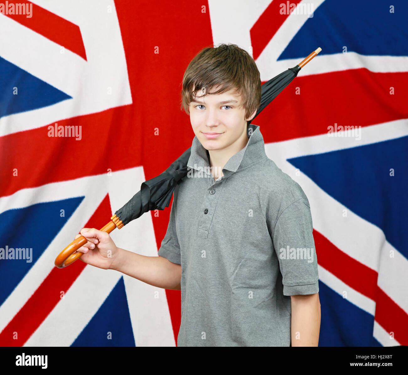 Regenschirm Flagge Teenager Britebritin Junge Junge Männliche