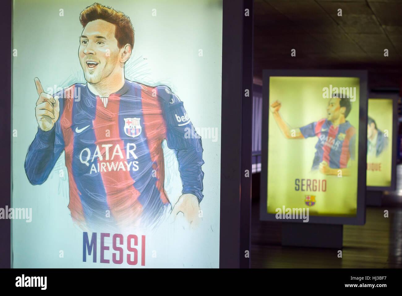 Barcelona, Spanien - 22. September 2014: Handgezeichnete Fußballer Plakate im Museum FC Barcelona. Lionel Messi. Stockbild