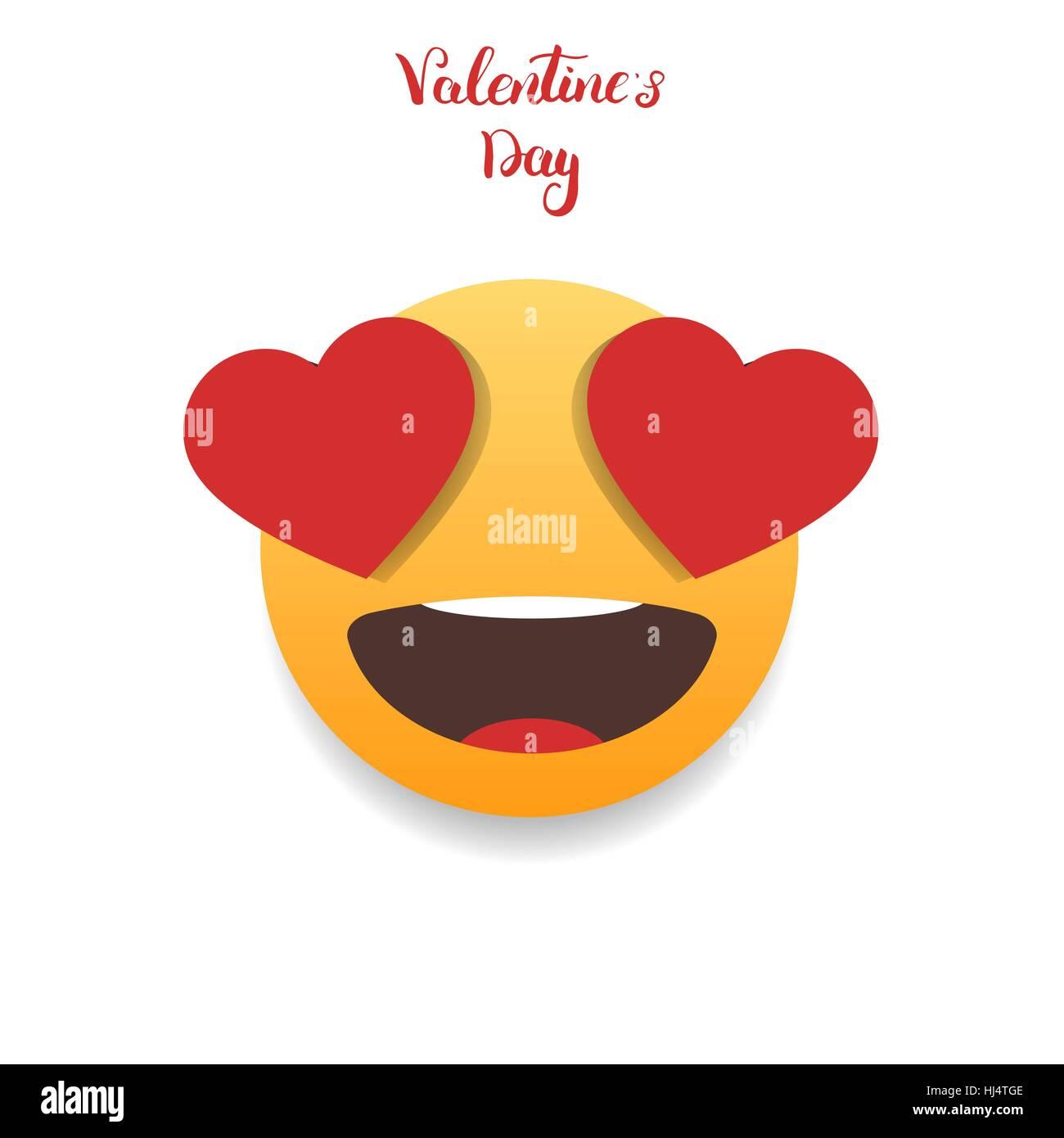 Valentinstag Emoticon Emoji Mit Herzen Augen Vektor Abbildung