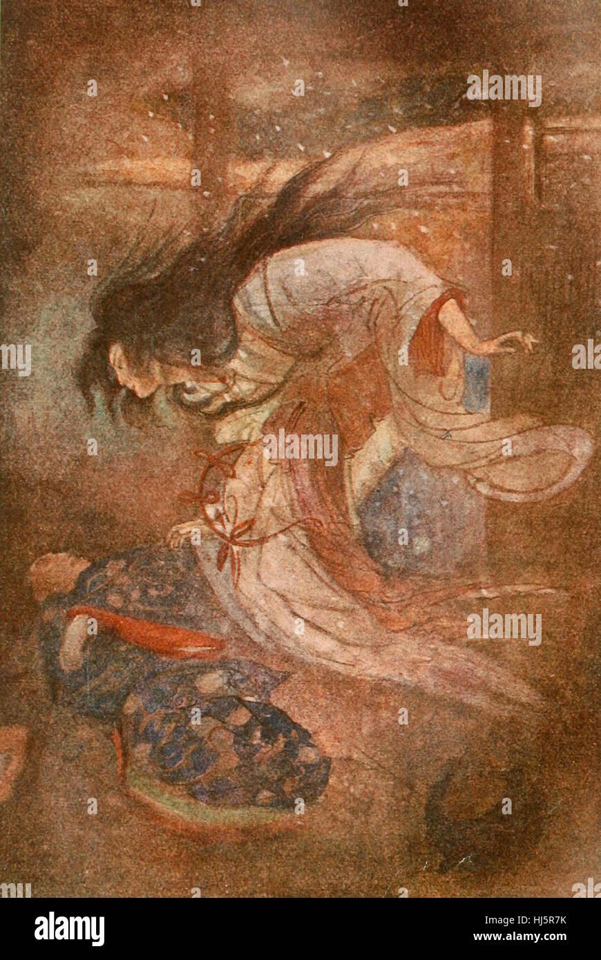 Yuki-Onna, die Dame des Schnees. Geist in der japanischen Folklore Stockbild