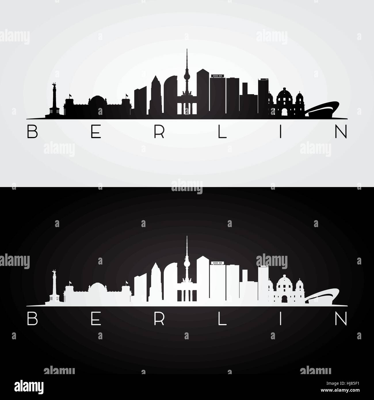 berliner skyline und wahrzeichen silhouette schwarz wei design vektor illustration vektor. Black Bedroom Furniture Sets. Home Design Ideas
