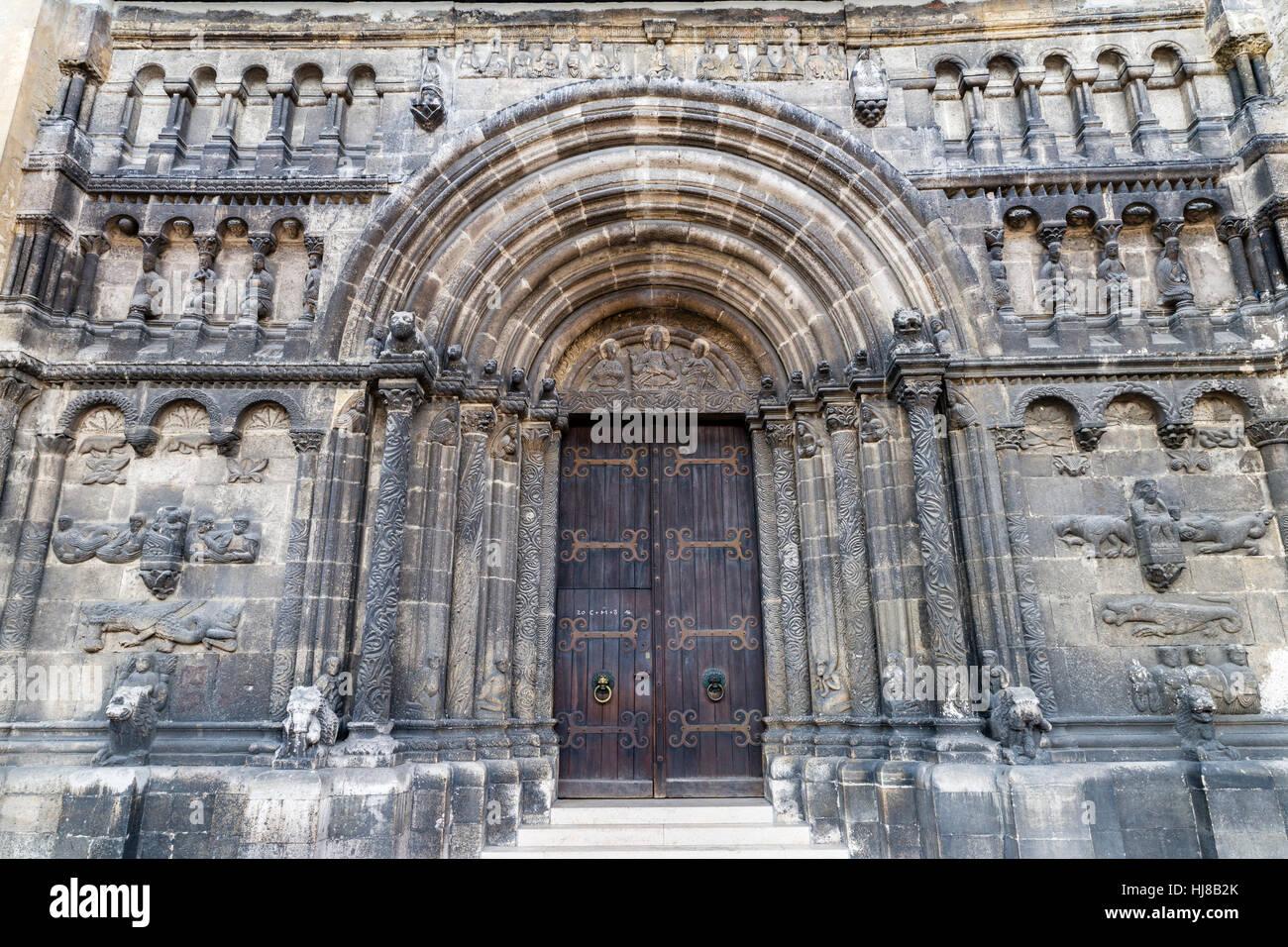 Schottenportal, Nordportal, Romantik, Scots Kloster oder Sankt Jacob Church, Regensburg, Oberpfalz, Bayern, Deutschland Stockbild