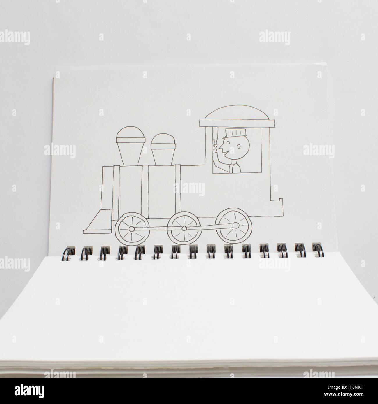 Konzeptionelle Zug Zeichnen In Einer Arbeitsmappe Stockfoto Bild