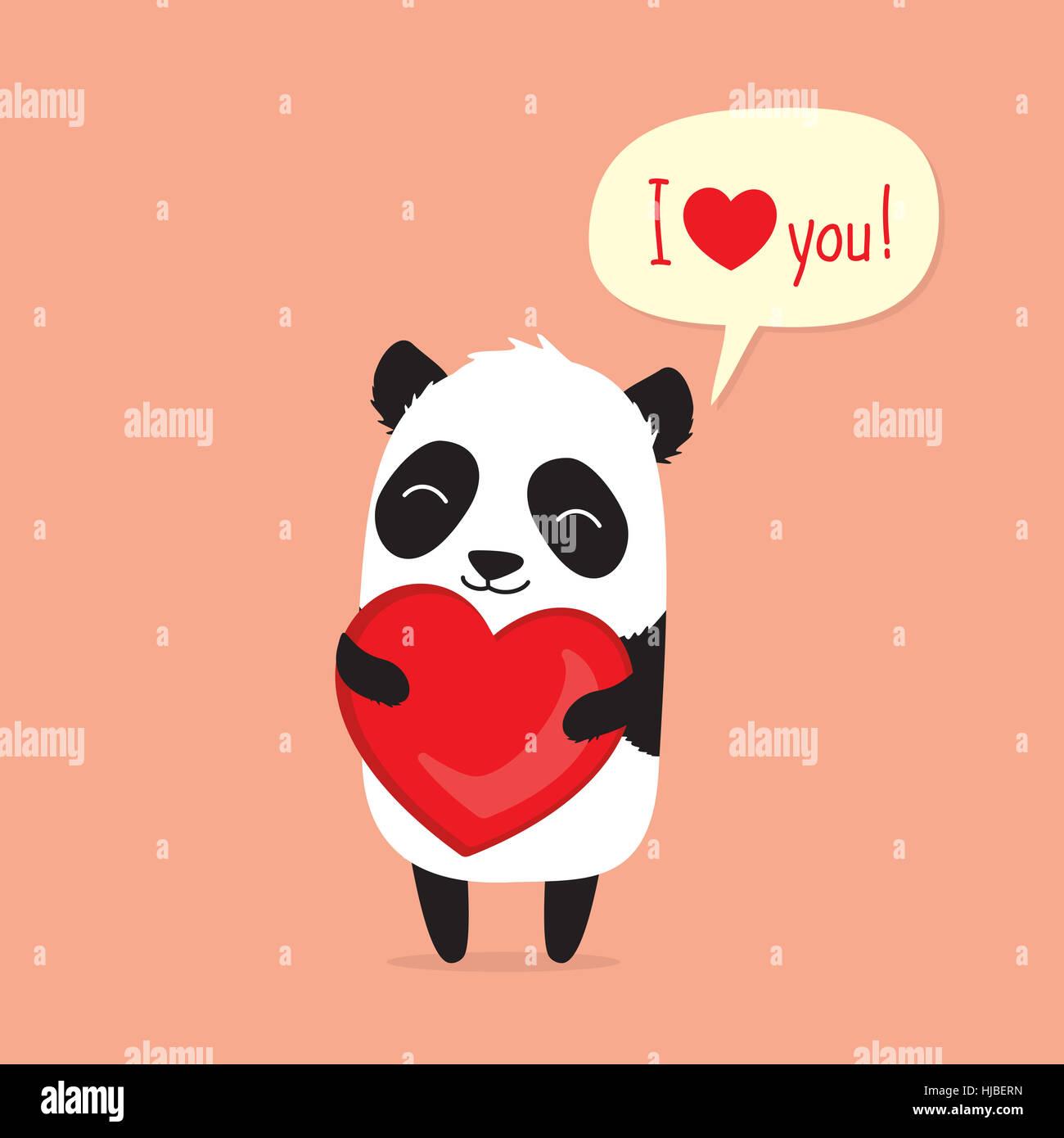 Niedlichen Cartoon Panda Halt Herz Und Sagt Ich Liebe Dich In Der
