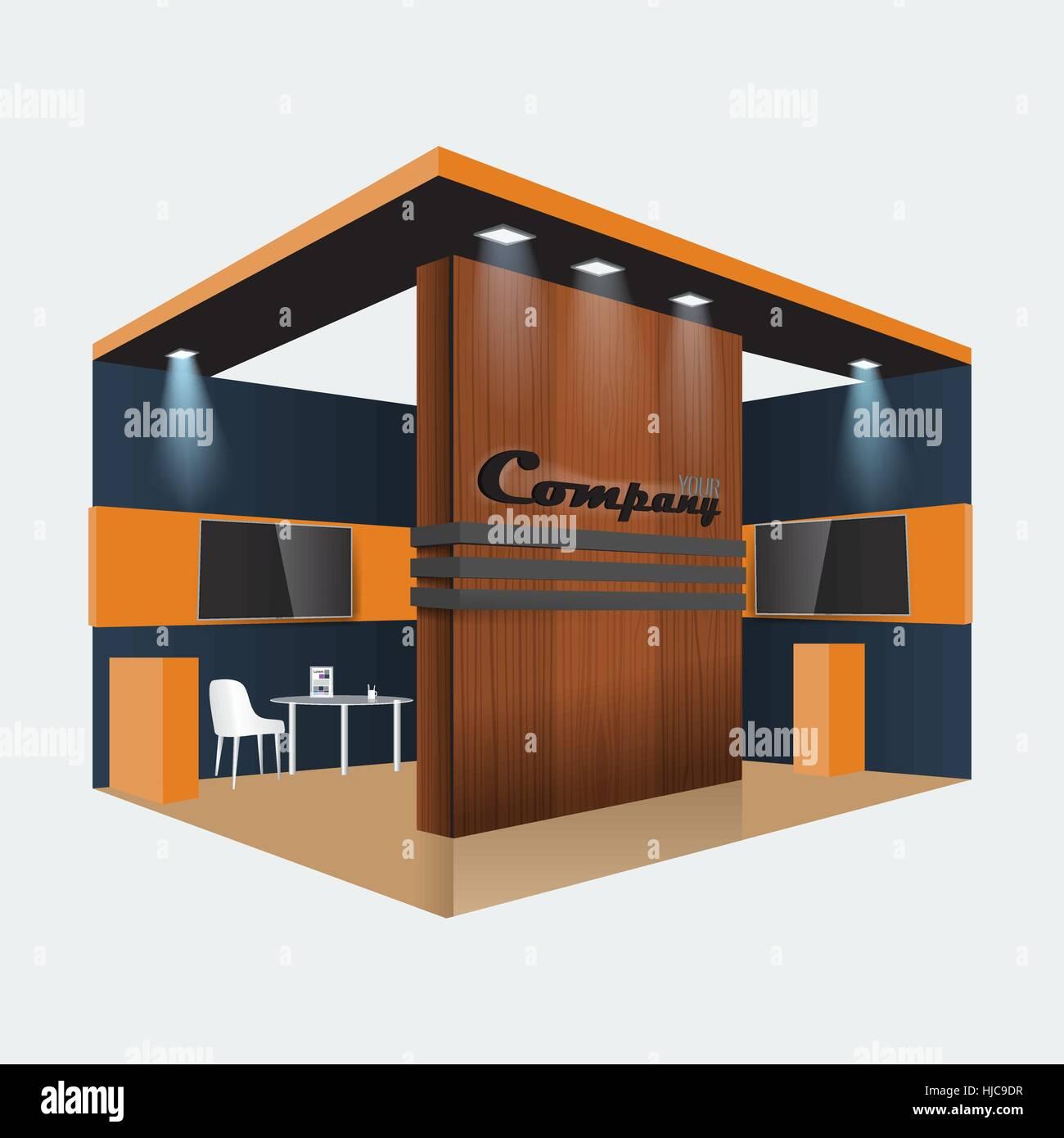 Einzigartige Kreative Holz Ausstellung Stand Display Design Infotafel, Roll  Up Für Eine Möbelfirma Illustriert. Vektor Mock Up Display Und Ich