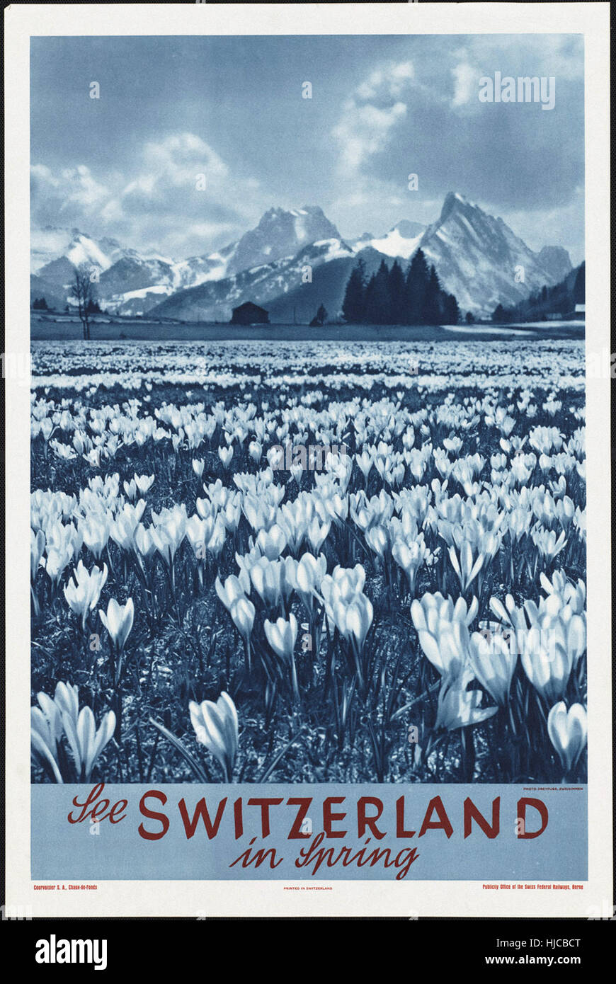 Der Schweiz im Frühjahr - Vintage Reise Poster der 1920er Jahre der 1940er Jahre zu sehen Stockfoto