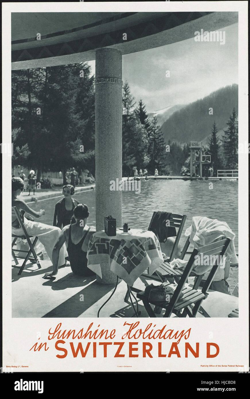 Sonnenschein reisen in der Schweiz - Vintage Reise Poster der 1920er Jahre der 1940er-Jahre Stockfoto