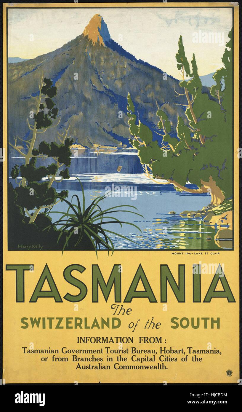 Tasmanien. Die Schweiz im Süden - Vintage Reisen Plakat der 1920er Jahre der 1940er-Jahre Stockfoto