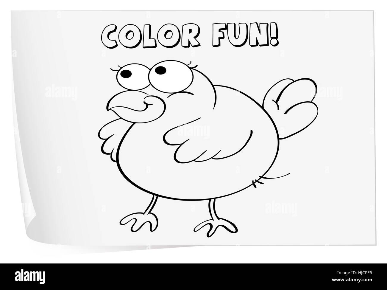 Abbildung eines Arbeitsblattes Färbung (Vogel Stockfoto, Bild ...