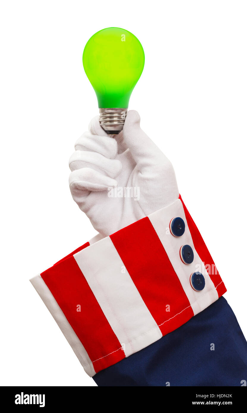Präsident Holding Green Light Bulb Isolated on White. Stockbild