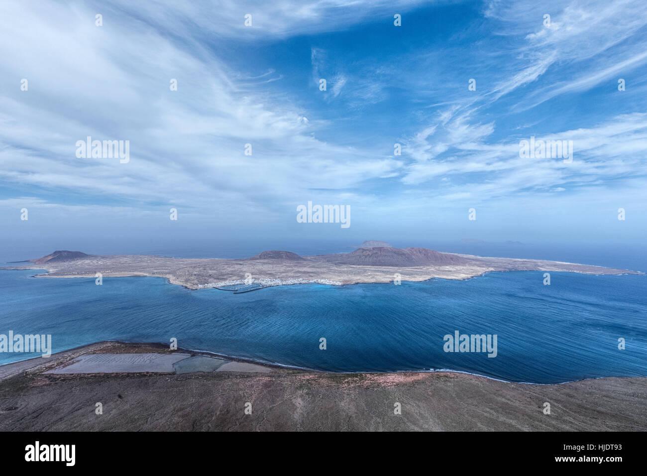 Mirador del Rio, La Graciosa, Lanzarote, Kanarische Inseln, Spanien Stockbild