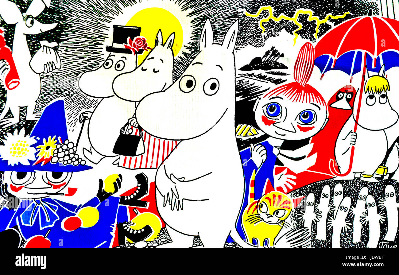 Design mit der Mumin-Familie; Mumin-Familie von Tove Jansson Stockbild