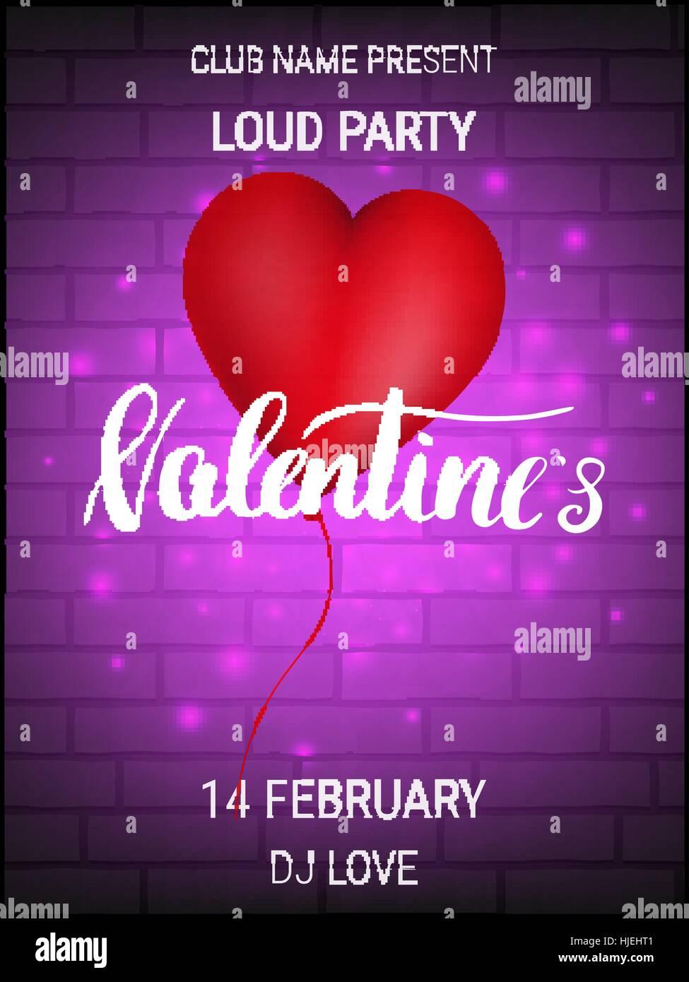 Valentinstag Party Poster Mit Glänzenden Herzballon Und Kalligraphie.  Stockbild