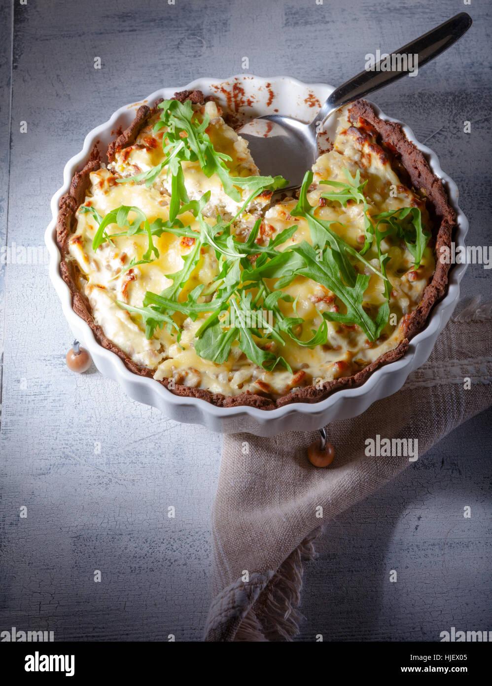Käse und Gemüse quiche Stockbild