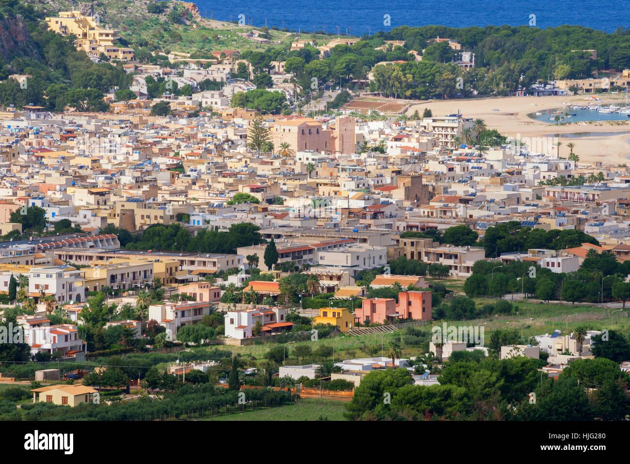 Blick auf San Vito lo Capo, Sizilien, Italien Stockbild