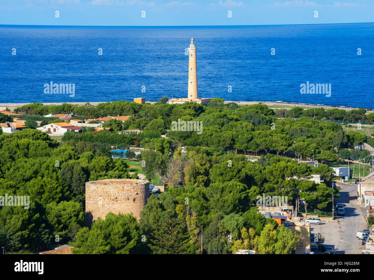 Leuchtturm, San Vito lo Capo, Sizilien, Italien Stockbild