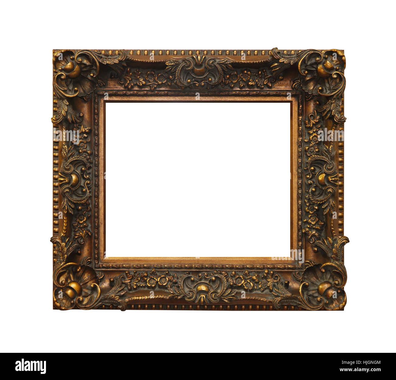 Kunst, isoliert, antik, rechteckig, Rahmen, Bronze, Rahmen, Rahmen ...