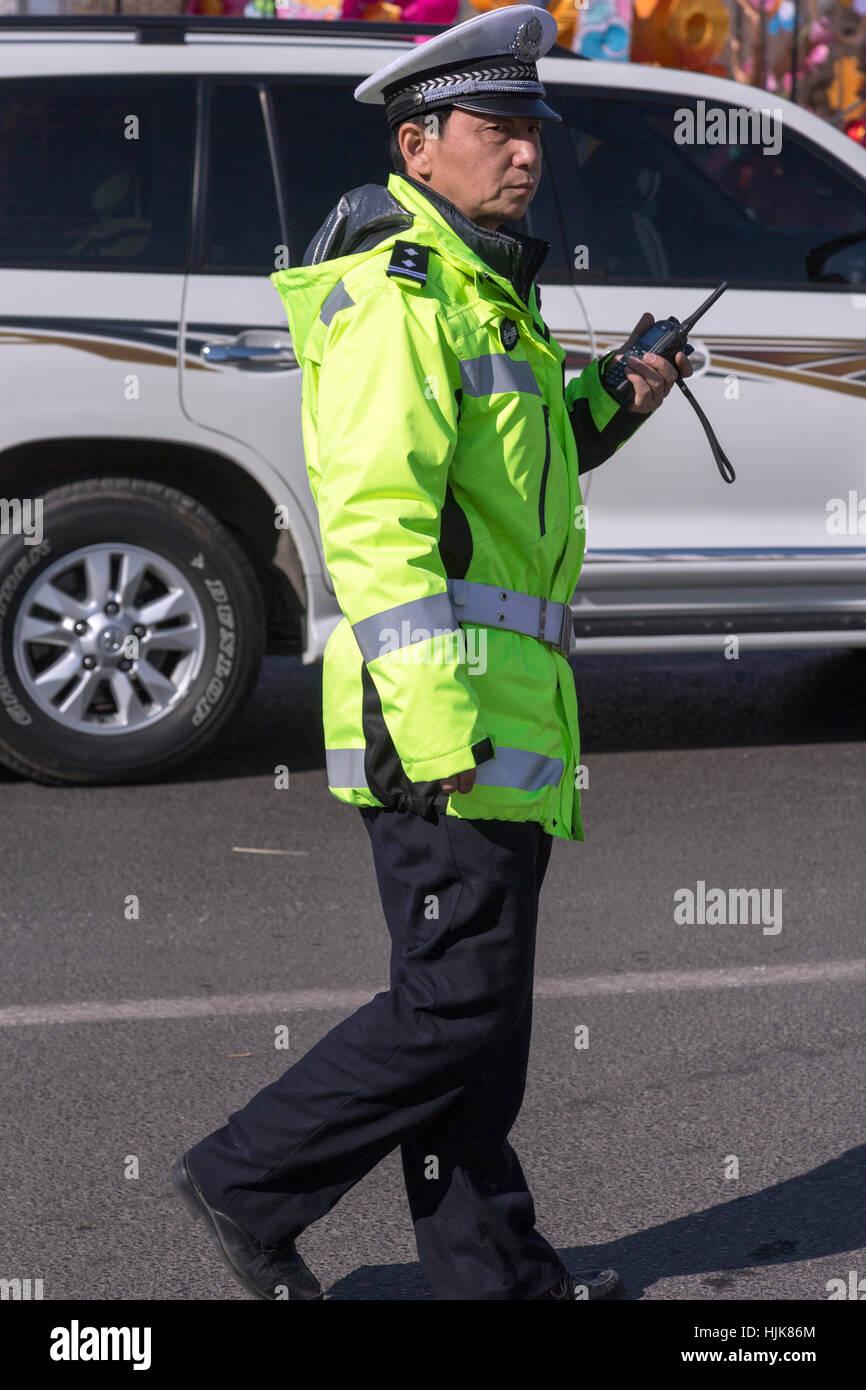 Verkehr Polizei, Yinchuan, Provinz Ningxia, China Stockbild