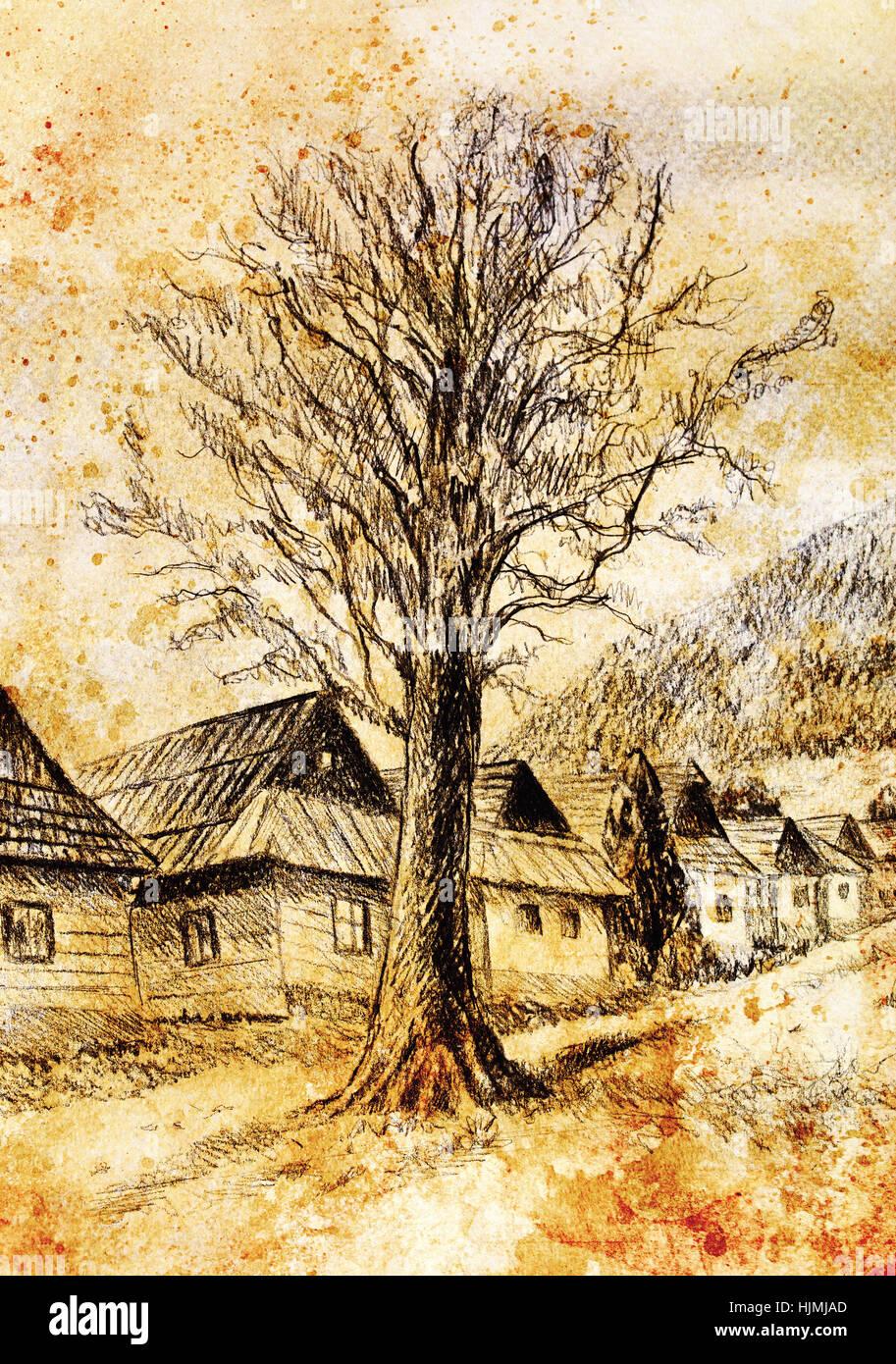 Linde In Alter Zeit Berg Willage Bleistift Zeichnung Collage Mit