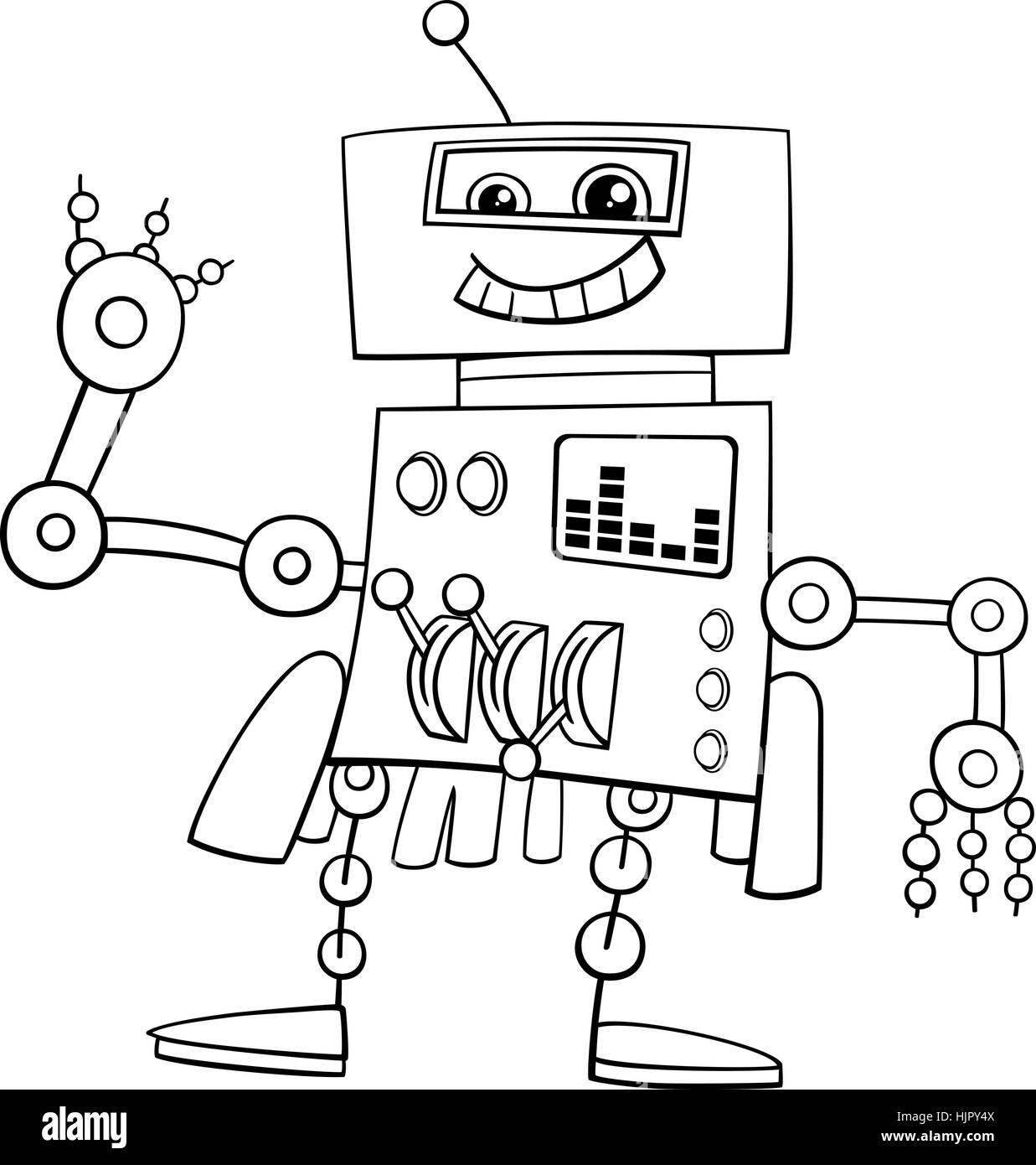 Schwarz / Weiß Cartoon Illustration der Roboter Science-Fiction oder ...