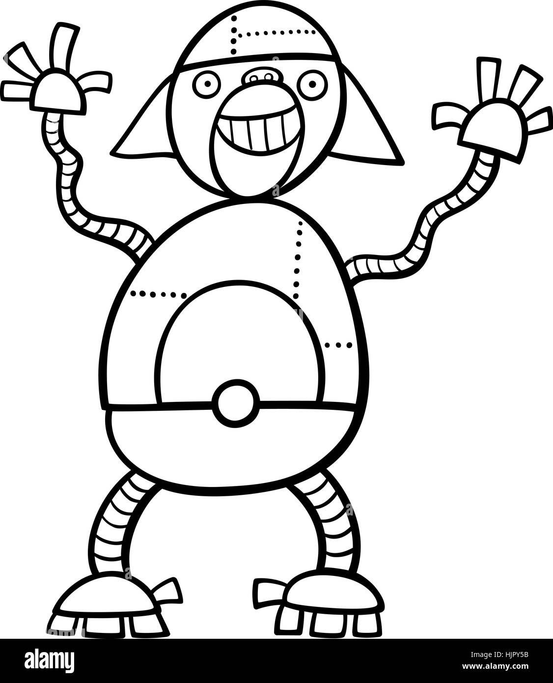 Schwarz / Weiß Cartoon Illustration von Ape Roboter Science-Fiction ...