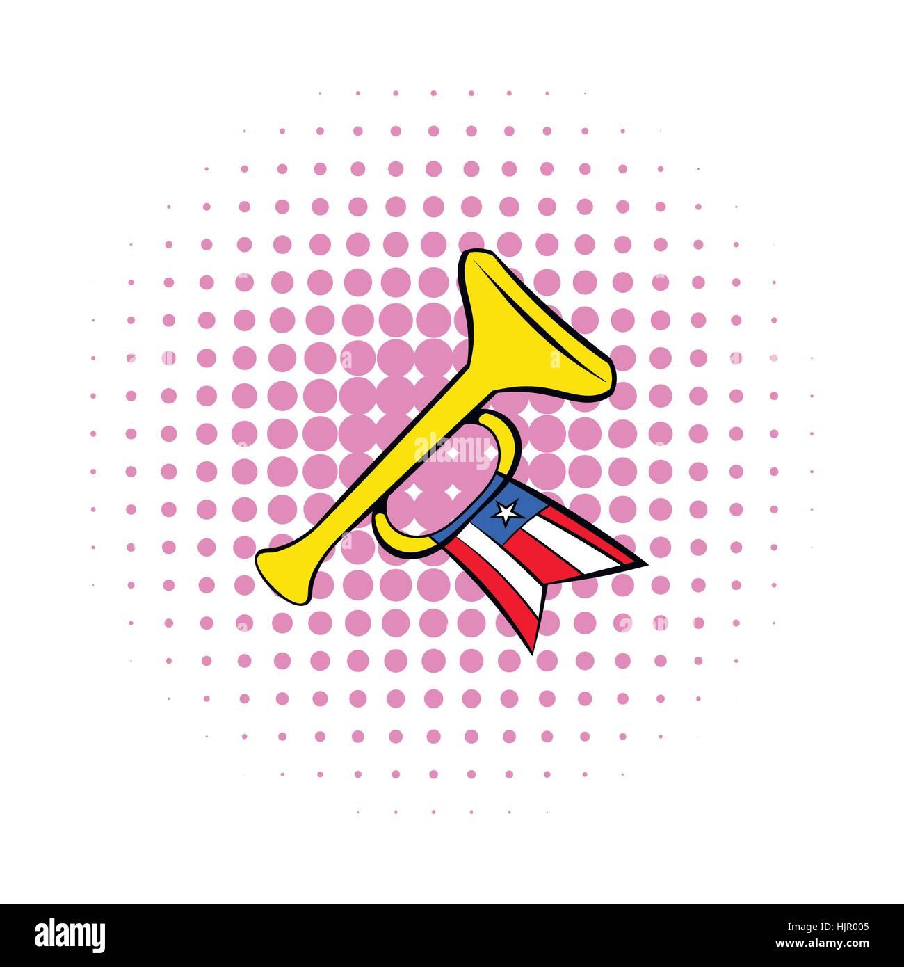 Trompete mit USA-Flaggen-Symbol im Comic-Stil auf einem weißen Hintergrund Stock Vektor