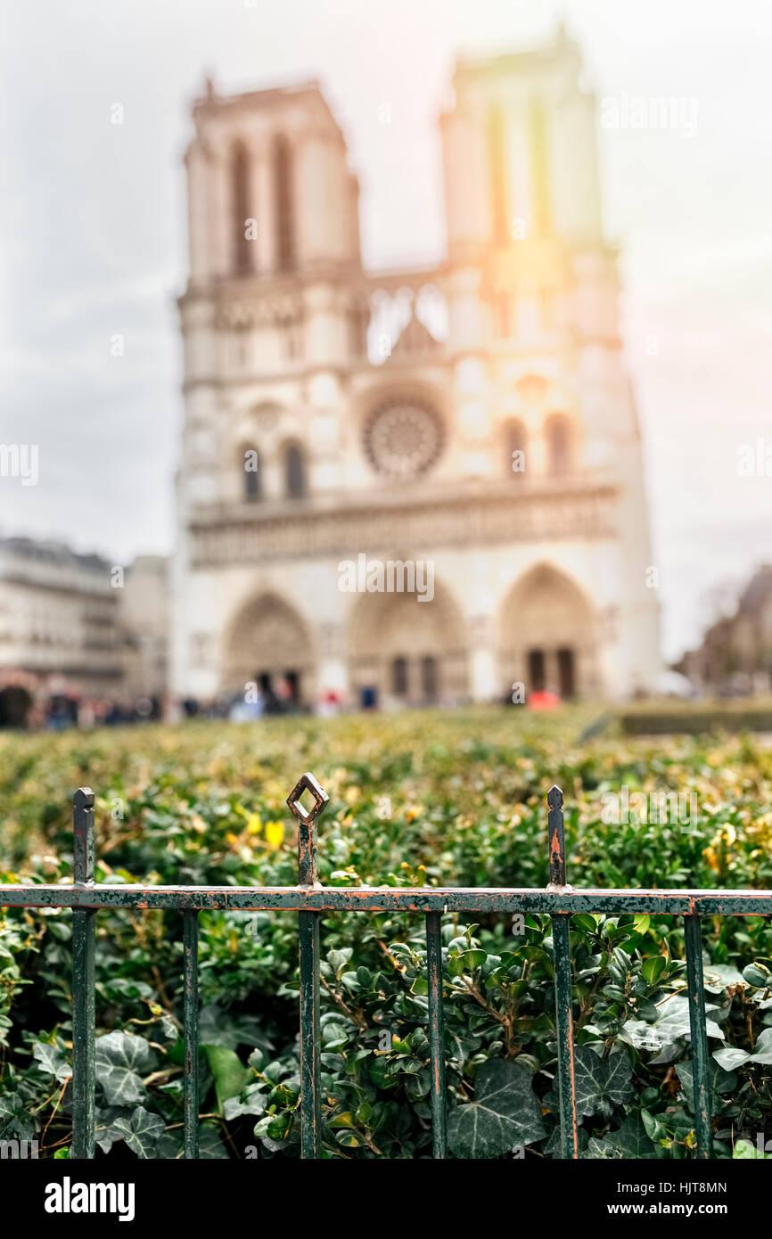 Frankreich, Paris, Zaun mit unscharfen Notre Dame im Hintergrund Stockbild