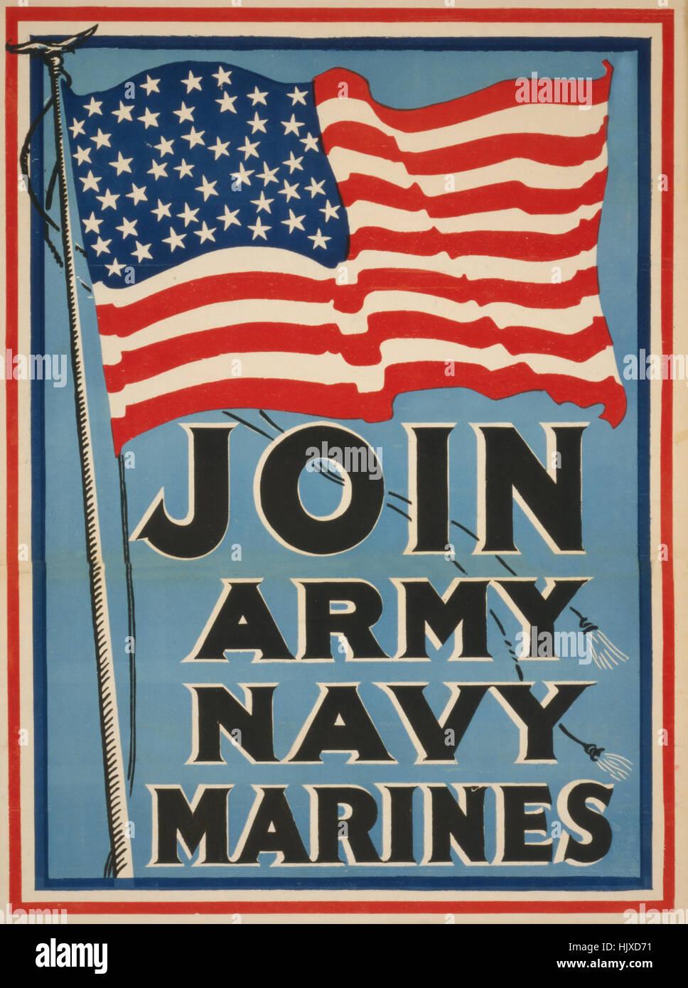 amerikanische flagge beitreten army navy marines weltkrieg recruitment poster usa 1917