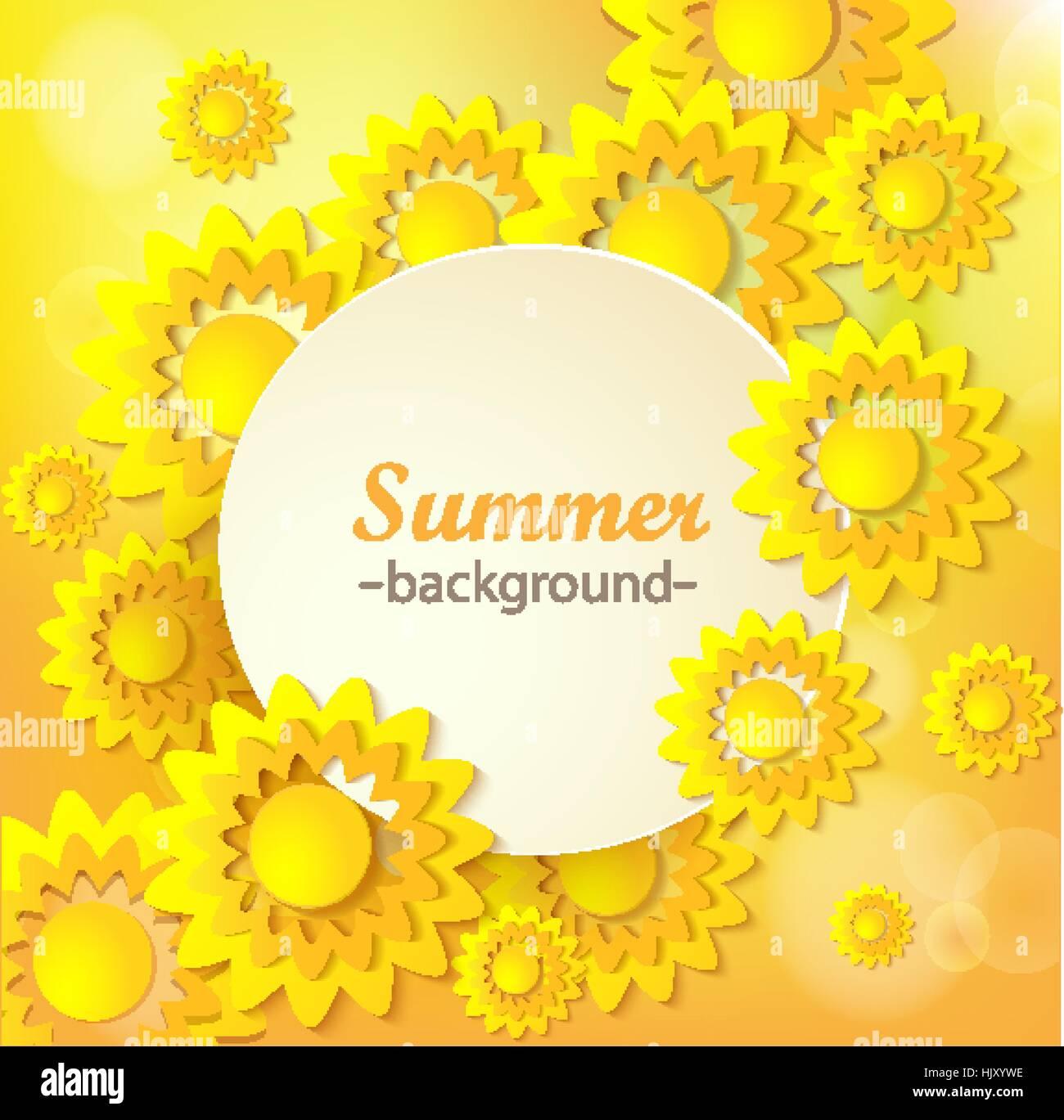 Abstrakte gelbe Blumen Grußkarte - Hintergrund mit Papier Schneiden ...