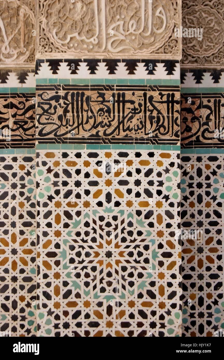 Fliesen Mosaik Bedeckt Wand In Fez Marokko Stockfoto Bild