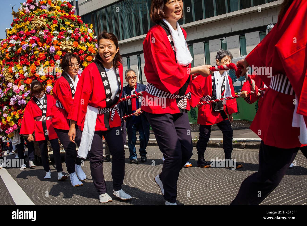 Sanno Matsuri Parade. Die Parade beginnt und endet am HieJinja-Schrein, Nagata-cho.Tokyo Stadt, Japan, Asien Stockbild