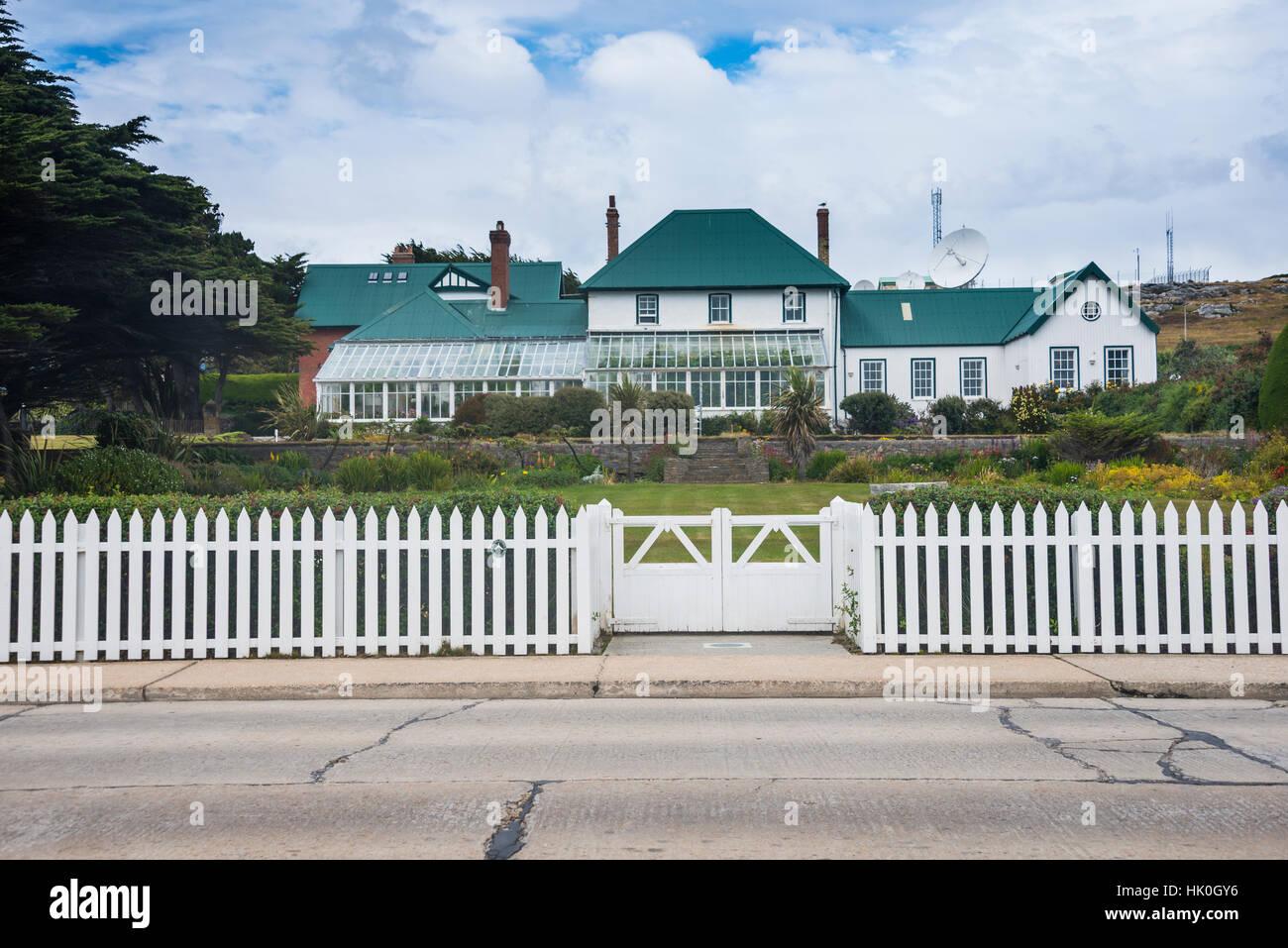 Sitz des Gouverneurs (Regierungsgebäude), Stanley, Hauptstadt der Falkland-Inseln, Südamerika Stockbild