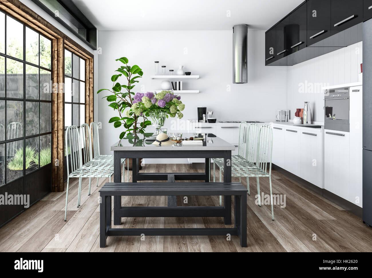 Helle Küche In Weiß Und Schwarz Minimalistischen Innenarchitektur