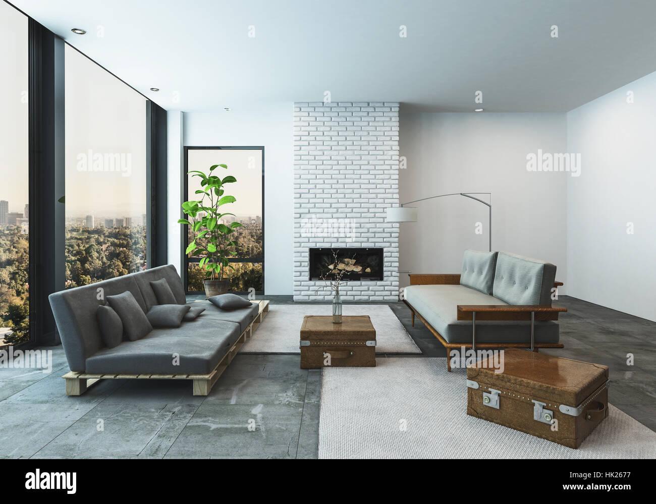 Stilvolle Moderne Wohnzimmer In Einer Wohnung Oder Penthouse Wohnung Mit  Großen Niedrigen Geschleudert Sofas Mit Koffer Akzente In Einem Geräumigen,  ...