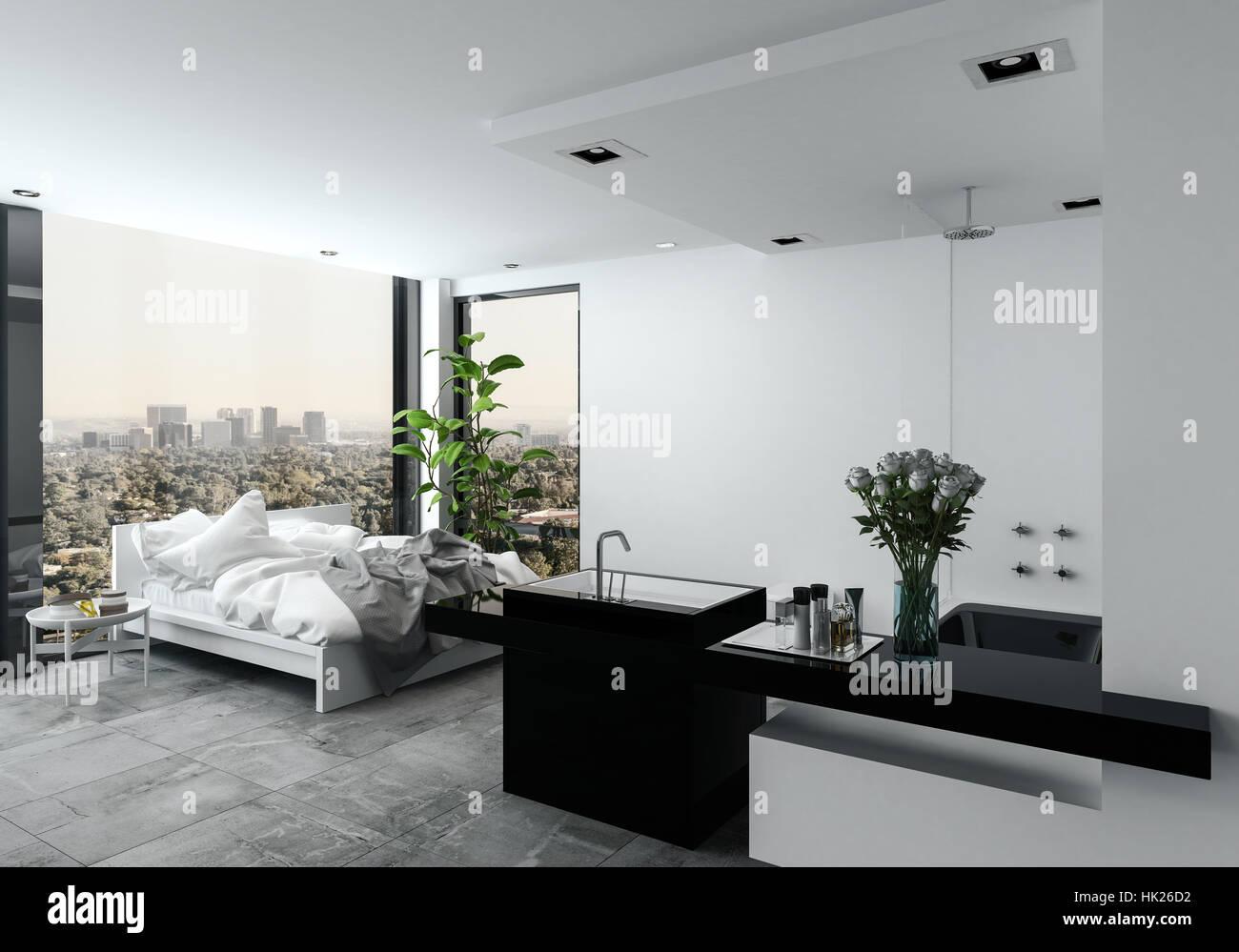 Offene Moderne Schlafzimmer Mit Bad In Einem Studio Mit Einem  Unordentlichen Ungemachten Bett Vor Fenster Mit Blick Auf Ein Stadtbild, 3d  Render