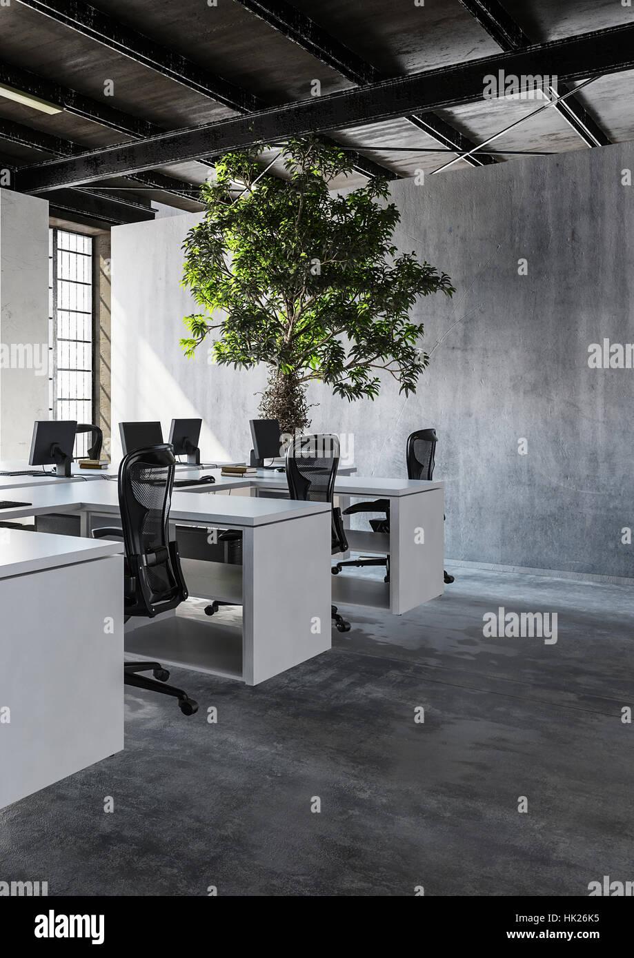 Blick auf modernen minimalistischen Interieur Büros mit mehreren ...