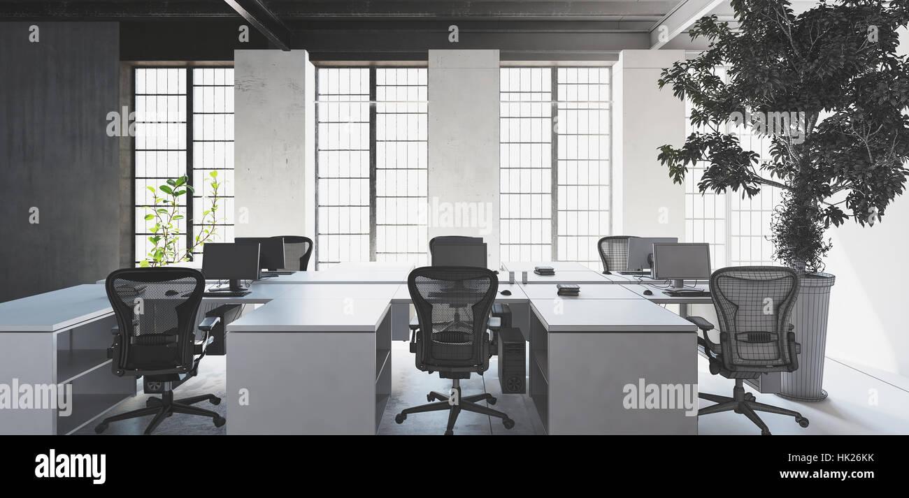 Leere weiße Schreibtische mit Stühlen in modernen minimalistischen ...