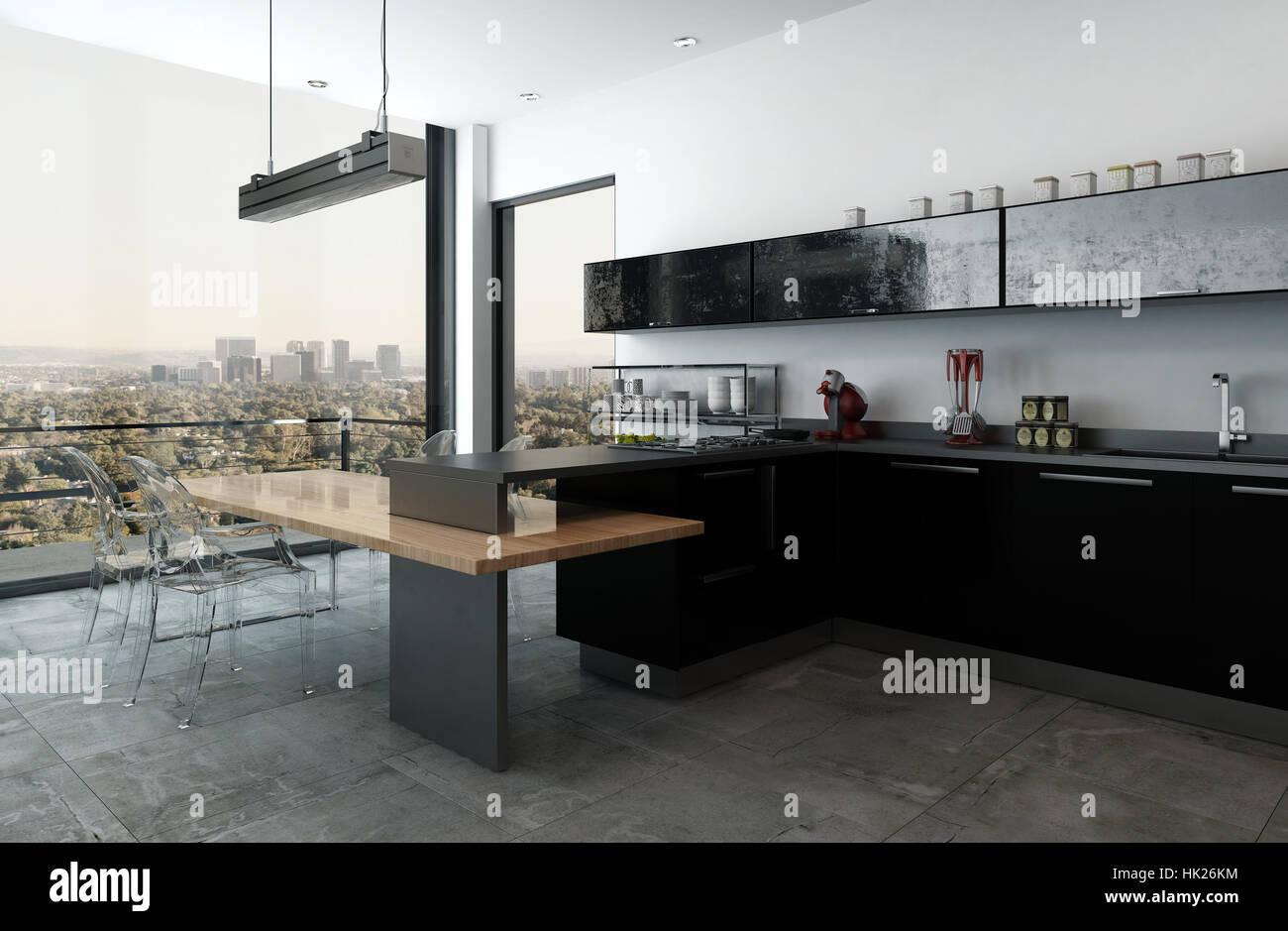 Moderne Luxus-Küche in einer Hochhauswohnung mit bar-Theke und ...