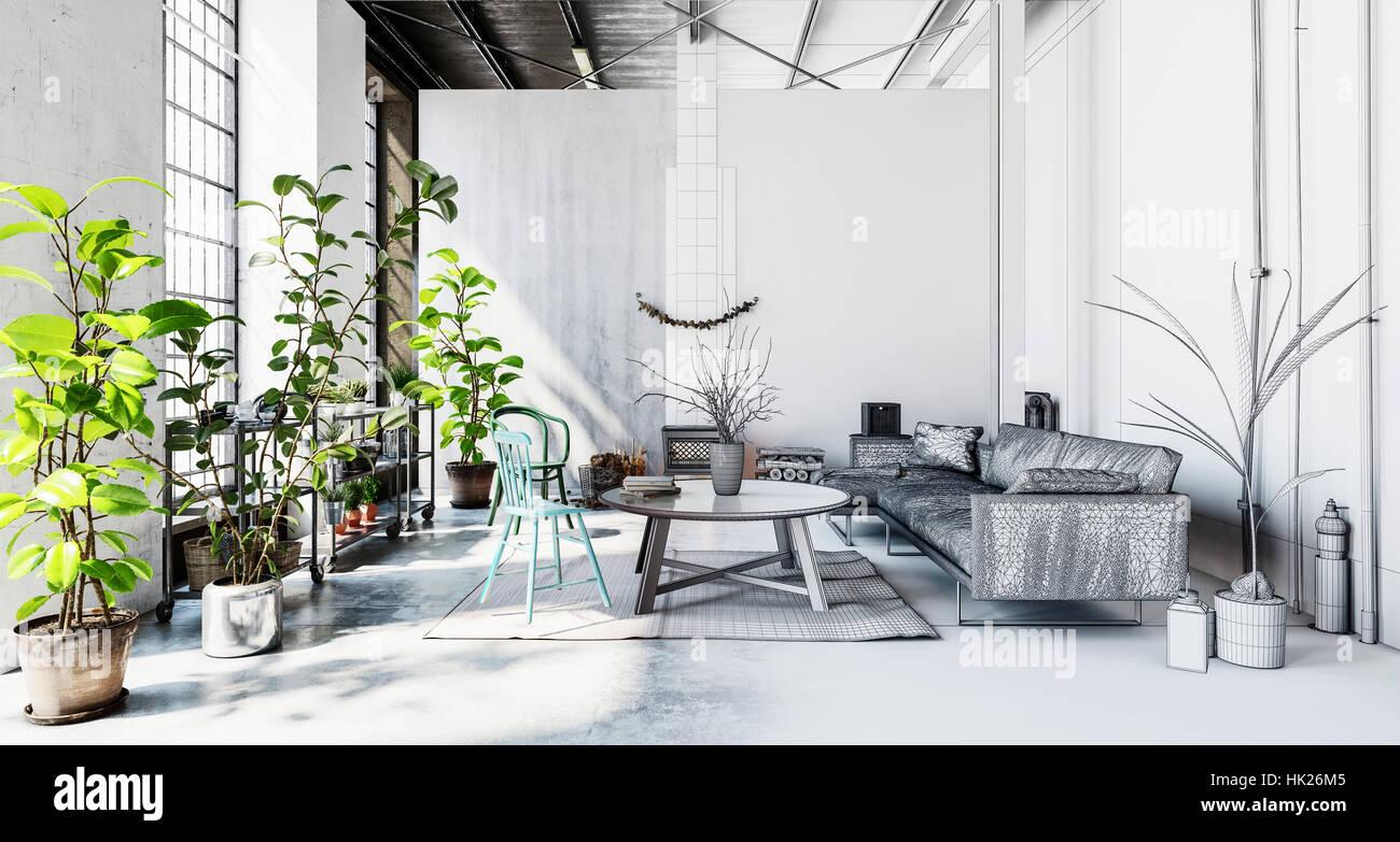 Büroraum mit Sofa, Couchtisch, viele Grünpflanzen und Teppich auf ...