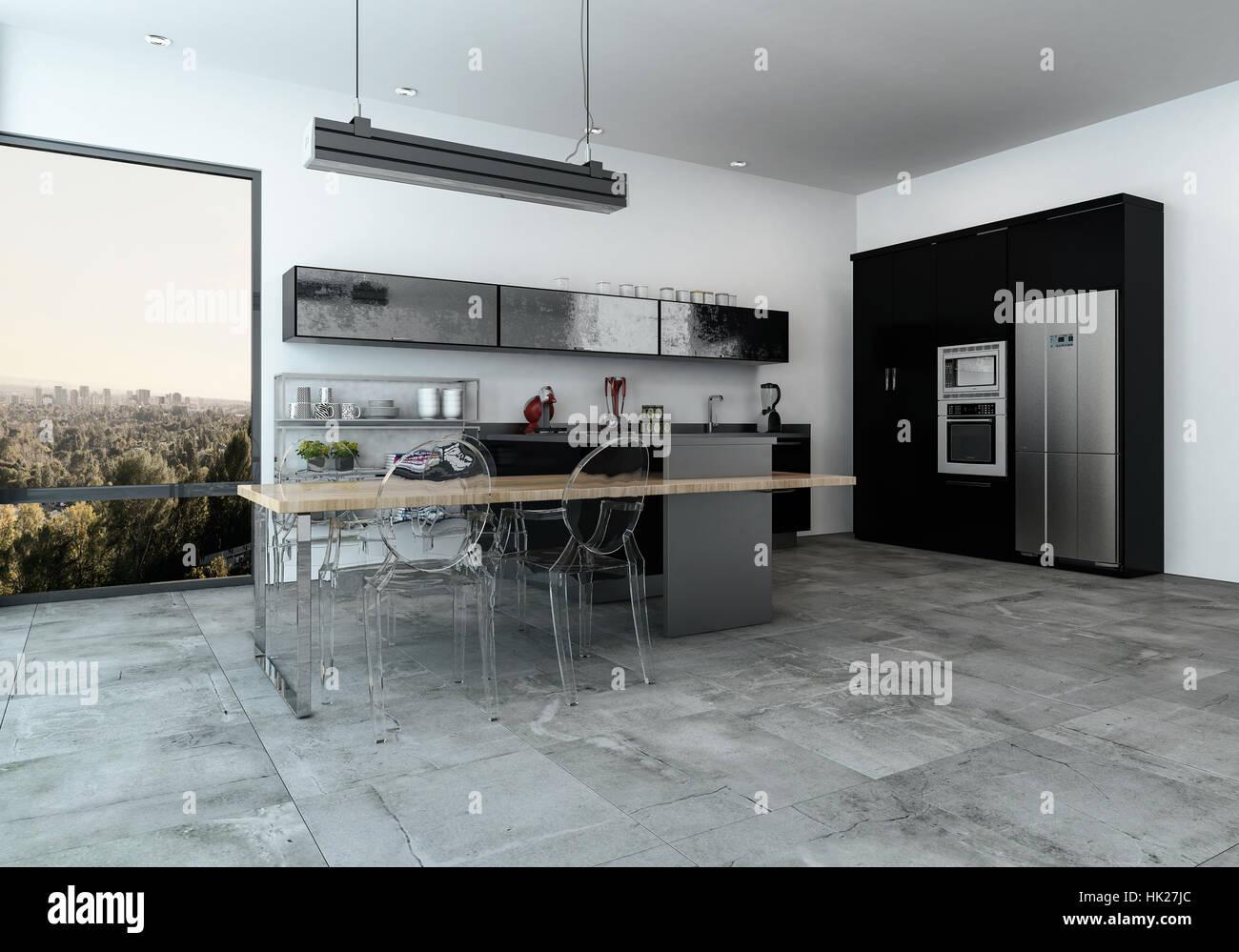 Modern ausgestattete Küchenzeile in eine geräumige offene Esszimmer ...