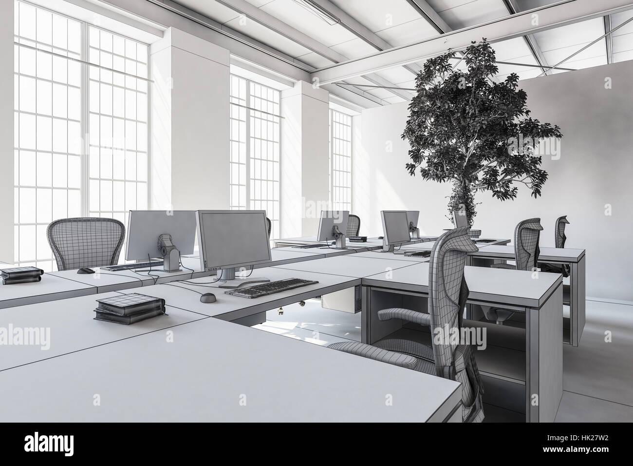 3d rendering interior empty factory stockfotos & 3d rendering